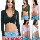 Sexy Womens Blouse T Shirt V Neck Long Sleeve Fit Tee Ladies Casual Slim Fit Top