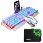 US 3in1 Gaming Punk Keyboard and Mouse Set USB Wired Mixed LED Backlit Ergonomic