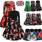 Women's Vintage Xmas Christmas Print Swing Dress Ladies Long Sleeve Party Dress