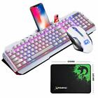 US Wired RGB Backlit USB Ergonomic Gaming Keyboard + Gamer Mouse + Mouse Pad