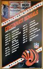 Budweiser NFL Team Schedule Poster Vintage 90's Football Sign Bud Light Ice Dry
