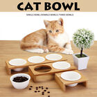 3 Style Pet Ceramic Bowl Elevated Cat Bamboo Feeder Raised Stand Fountain Dishes