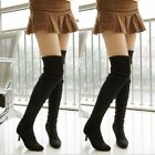 Women Slouch Suede Fabric Kitten Heel Pointy Toe Slim Over Knee Thigh High Boots