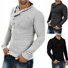 Fashion Men's Slim Fit Irregular Long Sleeve Muscle Casual T-shirt Tops Blouse