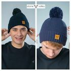 Stone Valley Men's Pom Pom 100% Acrylic Bobble Winter Hat Navy/Black