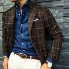 Men Suits Brown Striped Wool Blend Notch Lapel Tailored Fit Winter Warm Tuxedos