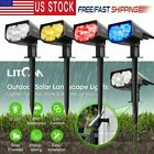 Litom Solar Powered Lamp Light Outdoor Garden Path Way Landscape Fence Lamp 2PC