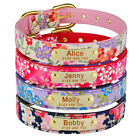 Adjustable Leather Persoanlised Dog Collar Floral Free Engraved Name Number Tag