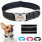Reflective Personalised Dog Collar Free Engraved Name Metal Buckle Durable Nylon
