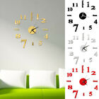 DIY Analog 3D Mirror Surface Large Number Wall Clock Sticker Modern Home Decor