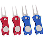 Golf Divot Repair Tool and Detachable Ball Marker Value 2 Pack Durable Fold H5E4