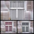 3PC KITCHEN PRINTED 2 TONE VOILE SHEER WINDOW CURTAIN VALANCE AND TIER PANEL