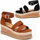 Ladies Wedge Platform Sandals Fancy Summer Dress Heels Walking Party Shoes Size