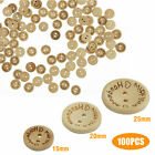 100 Mixed Love Heart Wood Button 2 Holes Apparel Sewing Coat Craft DIY 15mm-25mm