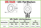 "US / Inch - USS Flat Washers, Cr+3 Zinc Plated Steel, #10, 3/16"", 1/4"" 5/16"""