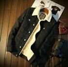Mens Fleece Lined Winter Warm Coat Trucker Denim Jean Jacket Fur Collar coat