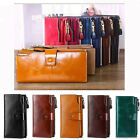 RFID Blocking Women Genuine Leather Long Wallet Money Card Holder Clutch Purse image