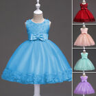 Princess Formal Birthday Party Wedding Flower Girl Dress Bow-knot Slim Fit Plain