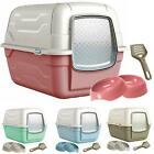 CatCentre® Large Hooded Luxury Cat Litter Tray & Gusto Food Water Bowls Bundle