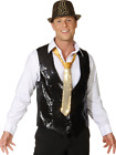 Mens Black Sequin Christmas Disco Fancy Dress Waistcoat Vest Costume Outfit M-XL