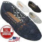 NEW Women's Lace Flat Shoe Floral Breathable Crochet Lace Ballet Flats