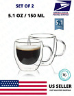 Double Wall Insulated Glass Strong Coffee Cup 150ML/5OZ Mug Espresso Tea Set 2 H