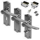 Chrome Lever Door Handles Latch Lock Bathroom Polished Chrome Pack CLEARANCE