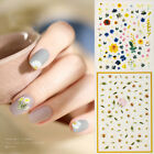 3D Nail Stickers Daisy Colorful Flower Leaf Pattern Nail Art Decoration Tips DIY