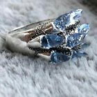 Vintage Punk Blue Zircon Tilted Crystal Ring Unusual Wedding Fine Jewelry