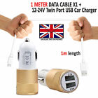 DOUBLE IN CAR CHARGER PLUS MICRO USB CHARGING CABLE LEAD FOR DORO PHONEEASY 612