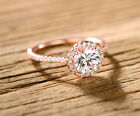 Sevil 18k Rose Gold Plated Halo-cut Cubic Zirconia Engagement Ring