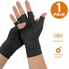 Compression Fingerless Copper Fit Gloves Arthritis Hand Support Pain Relief New