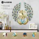 AUGIENB Luxury European Art Wall Clock Peacock Quiet For Diamante Quartz