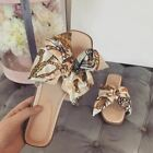 Womens Flat Bow Dolce Fashion Sliders Silky Summer Sandals Designer Comfy Mules