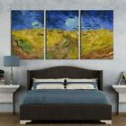 wall26 3 Panel Canvas Wall Art - Wheatfield with Crows by Vincent Van Gogh