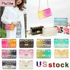Women Clear Transparent Jelly Candy Gradient Color Shoulder Chain Messenger Bag
