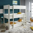 Sweden Solid Wood White Triple Sleeper Three Tier Bunk Bed 3ft Single Mattress