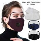 Adult Outdoor Protective Breathing Valve Face Mask With Eyes Shield+2 Filters US