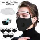 Outdoor Protective Breathing Valve Face Mask With Eyes Shield 5 Masks+10 Filters