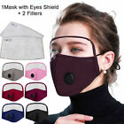 Cotton Outdoor Protective Breathing Valve Face Mask With Eyes Shield+2 Filters