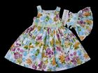 NEW Girl's Green Yellow Floral Summer Party Fancy Dress + Matching Doll Dress
