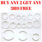 Sterling Silver Nose Ring Hoop Tragus Helix Septum Cartilage Earring Piercing <br/> SAME DAY DISPATCH, MONEY BACK GUARANTEE, UK COMPANY