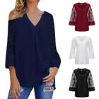 Women Top Blouse Long Sleeve Chiffon Lace Patchwork V-Neck Bottom Casual Loose