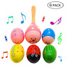 More images of 6 Pack Musical Egg Wooden Percussion Maracas Egg Shakers Assorted Colors Easter