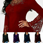 Women Sheer Mesh Long Sleeve T Shirt Lace Embroidery Puff Sleeve Slim Top Blouse