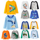 Toddler Kids Baby Boys Long Sleeve Cartoon Animal Dinosaur Shirt Top Blouse Tee