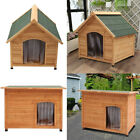 Large Wooden Dog Kennel House Home Apex/Flat Roof Weather Proof Outdoor Garden