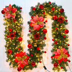 9FT Christmas Decoration LED Garland String Fairy Lights Wreath Fireplace Tree