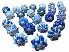 Blue & White Hand Painted Ceramic Pumpkin Assorted Knobs Kitchen Cabinets Handle
