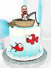 LARGE FISHING SPORT custom  FACE double side birthday Card party Cake Topper